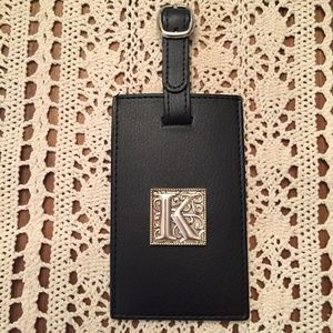 Leather Luggage Tag with Silver Monogram K